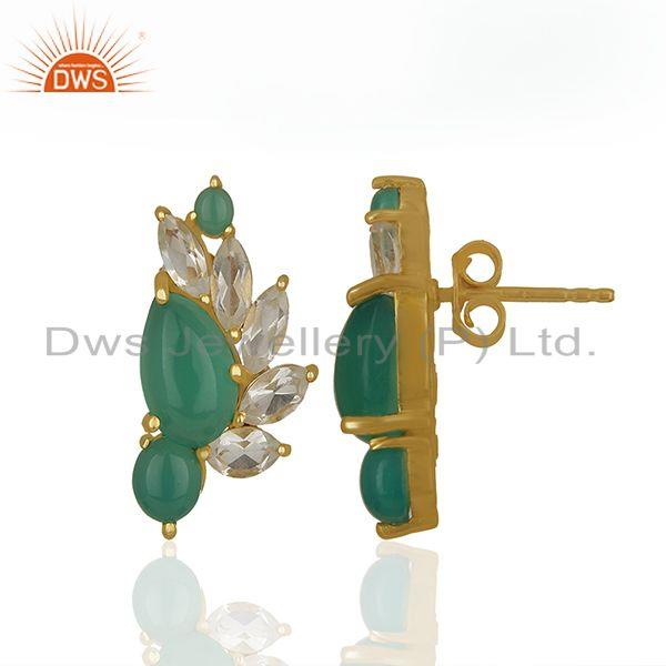 Exporter Crystal Quartz and Green Onyx Gemstone Silver Earrings Wholesale