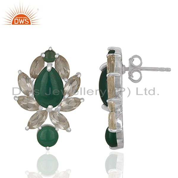 Exporter Designer Multi Gemstone 925 Silver Stud Custom Earrings Manufacturers