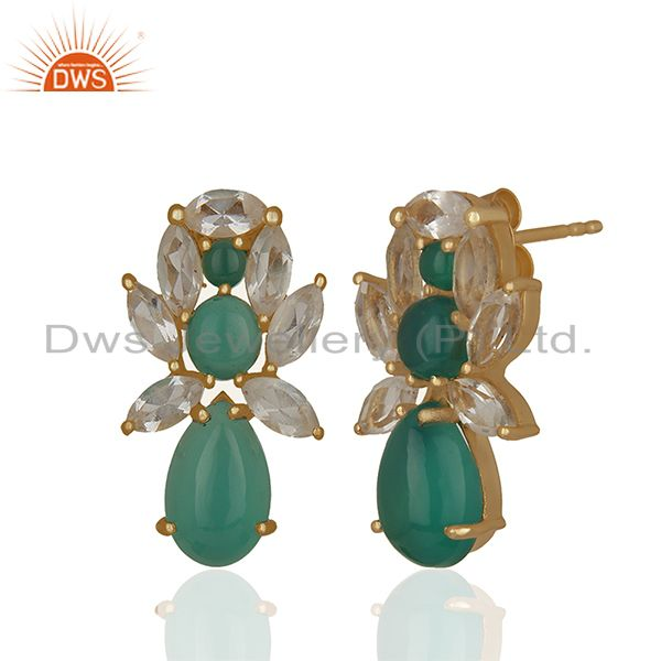 Exporter Prong Setting Natural Gemstone Solid 925 Silver Stud Earrings Jewelry