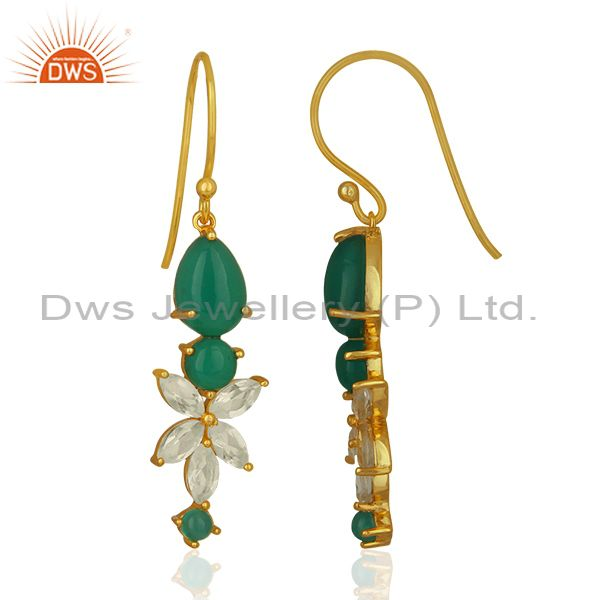 Exporter Gold Plated Sterling Silver Multi Gemstone Dangle Earrings Wholesale