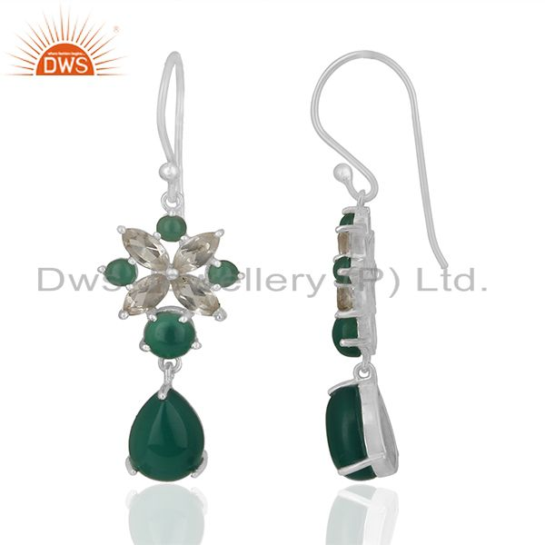 Exporter Solid Fine Sterling Silver Multi Gemstone Dangle Earrings Wholesale