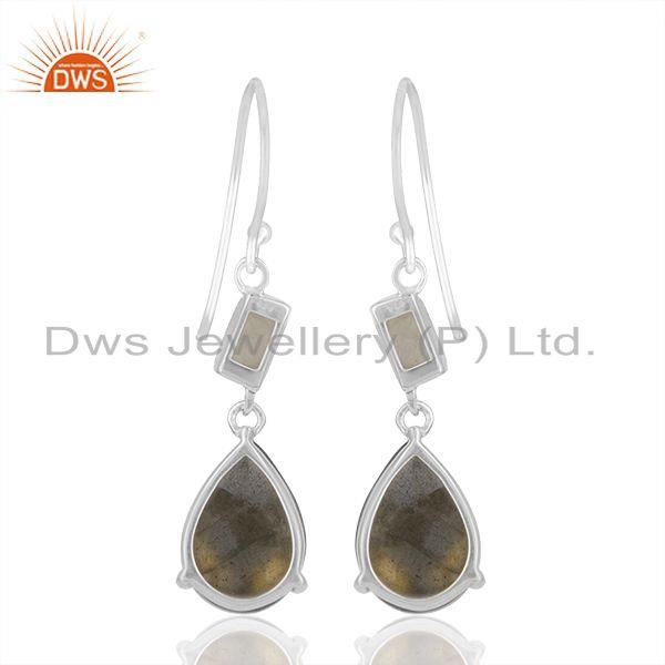 Exporter Labradorite and Moonstone Rainbow 925 Silver Earrings Manufacturers