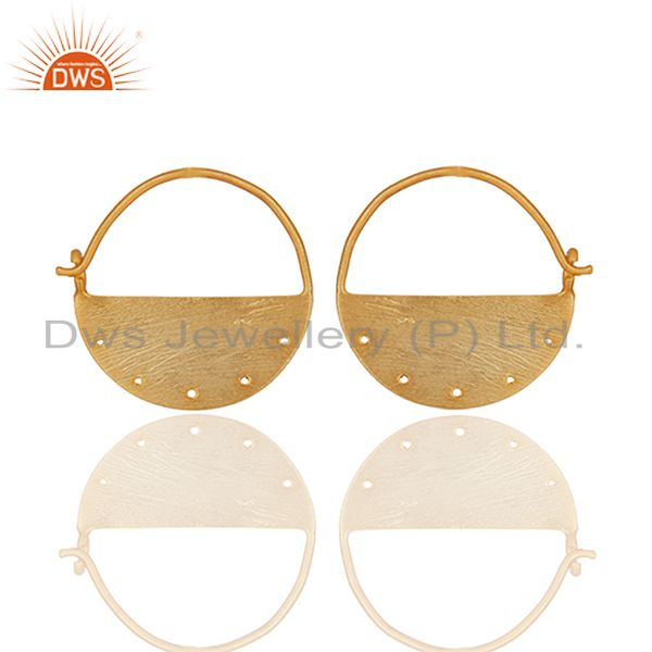 Exporter Solid 925 Plain Silver Gold Plated Earrings Jewelry Manufacturers
