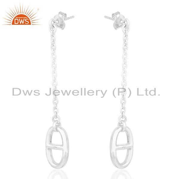 Exporter Solid 925 Sterling Silver Chain Earrings Custom Jewelry Manufacturers