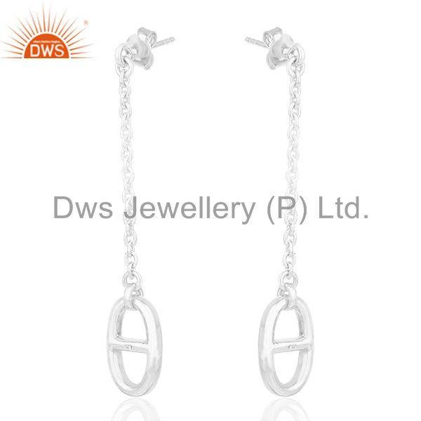 Exporter Genuine Sterling Silver Chain Link Design Girls Earrings Manufacturer