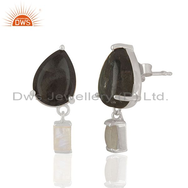 Exporter Natural Labradorite and Moonstone 925 Silver Drop Earrings Wholesale