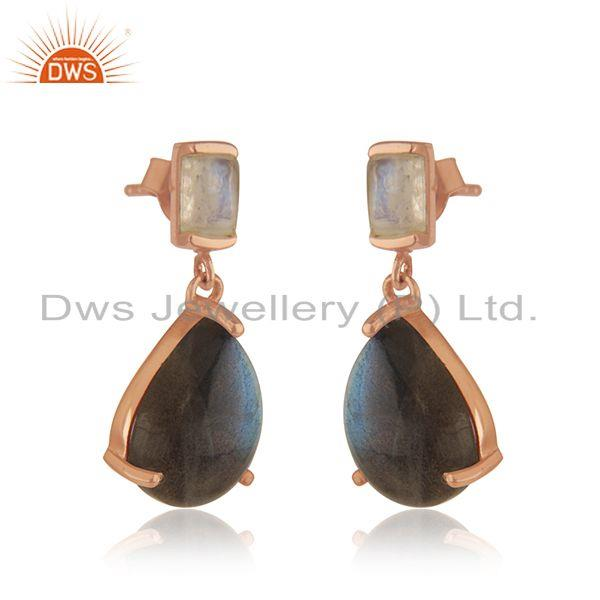 Exporter Handmade 925 Silver Gold Plated Natural Multi Gemstone Earrings Manufacturer