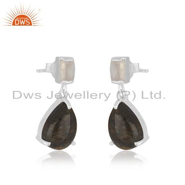 Exporter Labradorite and Moonstone 925 Sterling Silver Drop Earrings Jewelry Wholesaler
