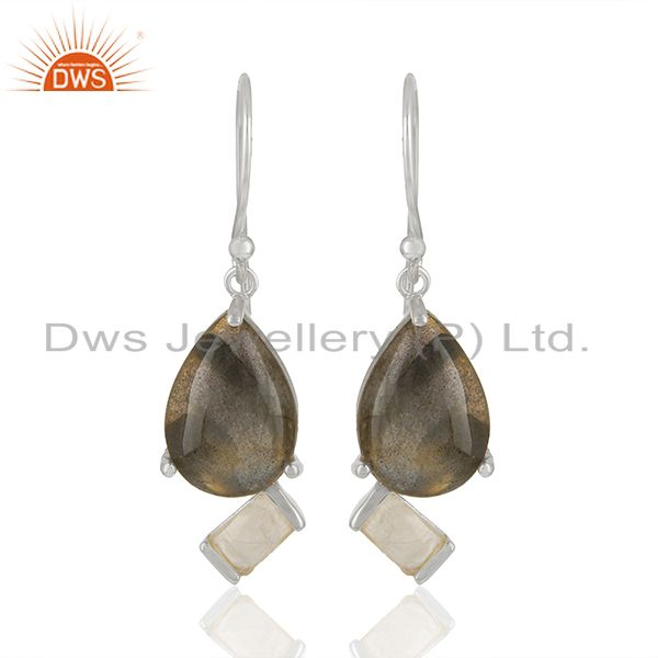 Exporter Designer 925 Sterling Silver Multi Gemstone Drop Earrings Wholesale