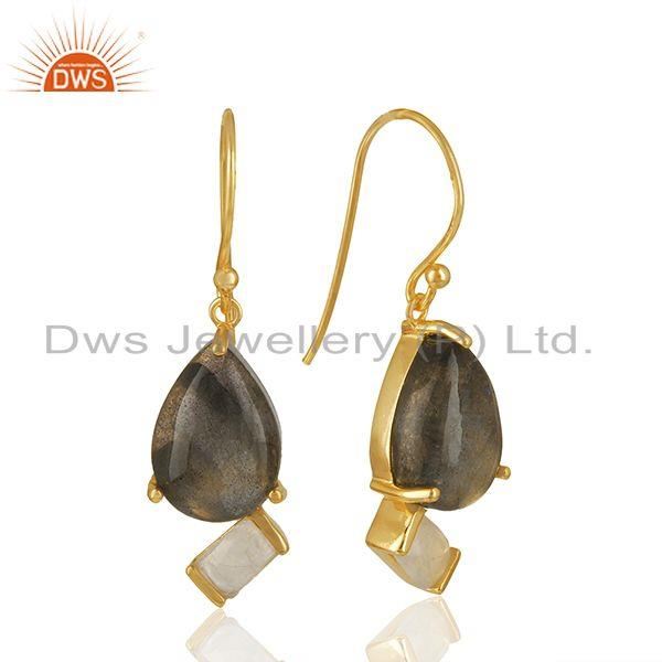 Exporter Natural Multi Gemstone 925 Silver Gold Plated Earrings Jewelry
