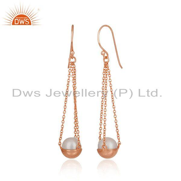 Exporter Natural Pearl Rose Gold Plated 925 Silver Chain Earring Jewelry