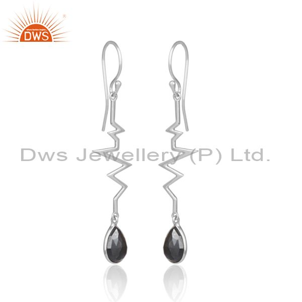 Exporter Hematite Heartbeat Collection Designer Sterling Silver Earring