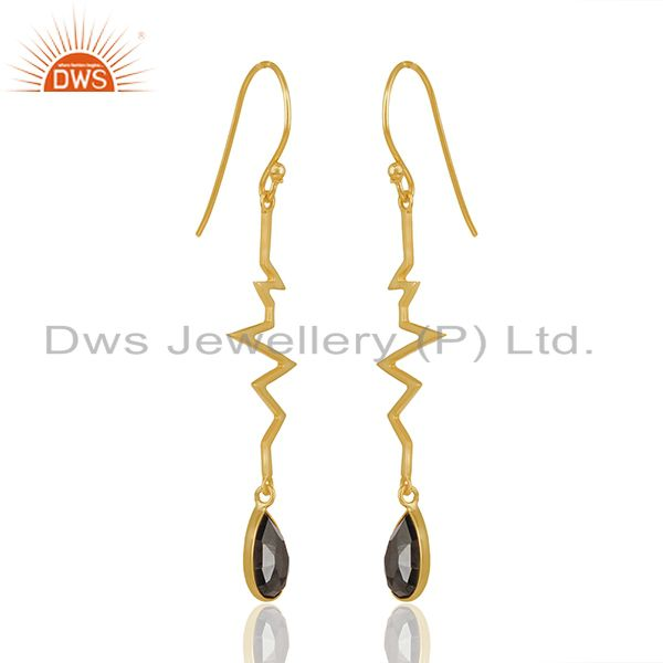 Exporter Hematite Heartbeat Collection Gold Plated Designer Sterling Silver Earring
