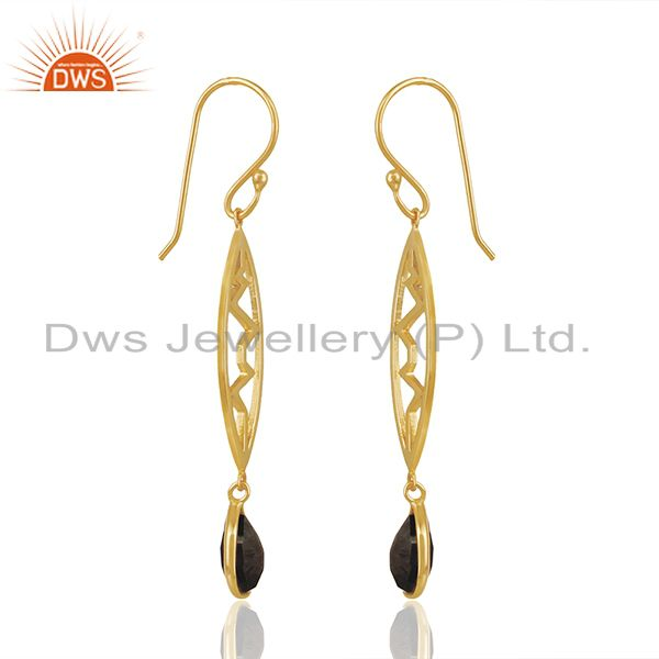 Exporter Hematite Heartbeat Collection Gold Plated Sterling Silver Earring