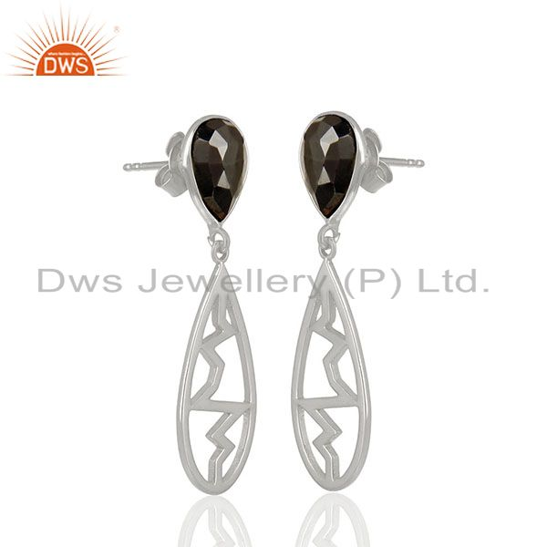 Exporter Hematite Pear Studded Heartbeat Collection Designer Silver Earring