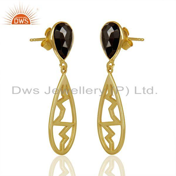 Exporter Hematite Pear Studded Heartbeat Collection Gold Plated Designer Silver Earring