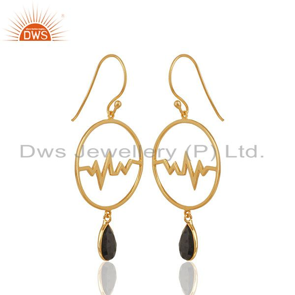 Exporter Hematite Studded Simple Heartbeat Gold Plated Designer Silver Earring