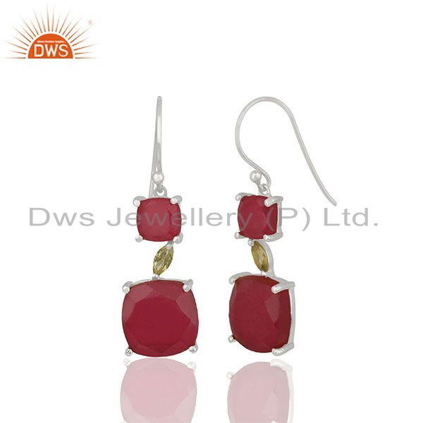 Exporter Peridot and Ruby Gemstone Fine 925 Silver Dangle Earrings Manufacturer