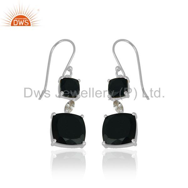 Exporter Black Onyx Gemstone 925 Silver Drop Earrings Manufacturer of Girls Jewelry