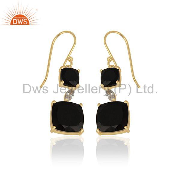 Exporter 14k Gold Plated 925 Silver Black Onyx Gemstone Dangle Earrings Manufacturer