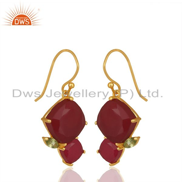 Exporter New Arrival Gold Plated 925 Silver Multi Gemstone Earrings Wholesale