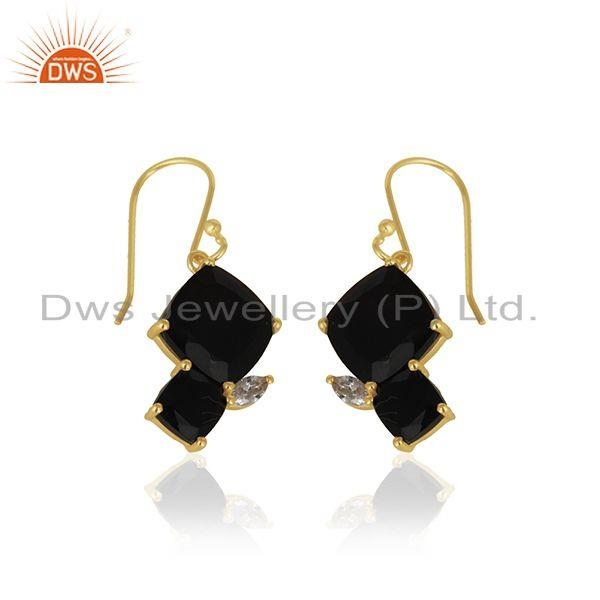 Exporter Handmade 925 Silver 14k Gold Plated Black Onyx Gemstone Drop Earrings Wholesale