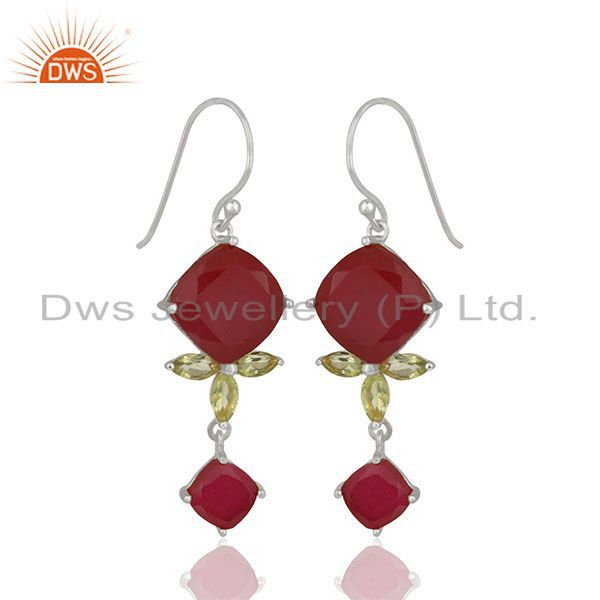 Exporter Dyed Ruby and Peridot Gemstone 925 Silver Dangle Earrings Wholesale