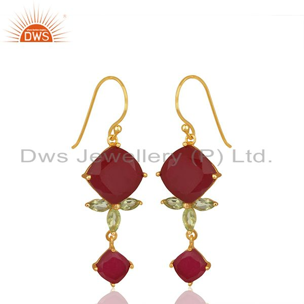 Exporter Peridot Gemstone 925 Silver Gold Plated Dangle Earrings Manufacturer