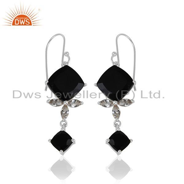 Exporter Black Onyx Gemstone 925 Fine Silver Black Onyx and Zircon Earrings Wholesale