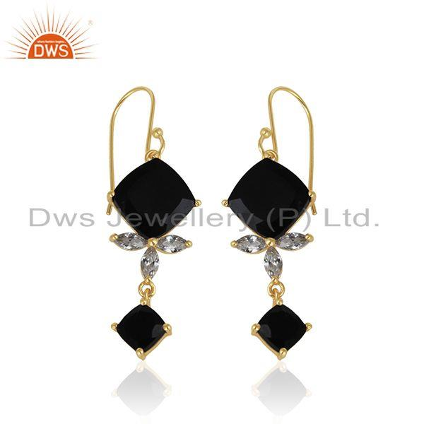 Exporter 925 Silver 14k Gold Plated Black Onyx Gemstone Dangle Earrings Manufacturer