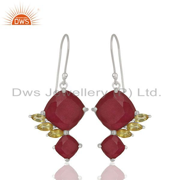 Exporter Handmade 925 Silver Multi Gemstone Girls Earrings Jewelry Wholesale