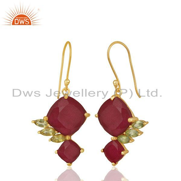 Exporter 92.5 Sterling Silver Gold Plated Double Gemstone Earrings Wholesale