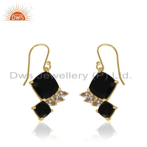 Exporter White Zircon and Black Onyx Gemstone 925 Silver Gold Plated Earrings Supplier