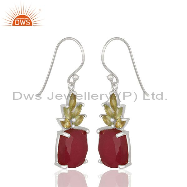 Exporter Prong Set Ruby and Peridot Gemstone Fine 925 Silver Earrings Wholesale
