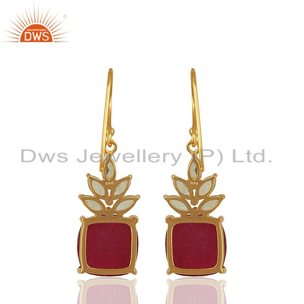 Exporter Natural Multi Gemstone 925 Silver Gold Plated Earring Manufacturers