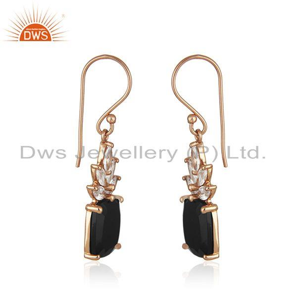 Exporter Black Onyx Gemstone 925 Silver Gold Plated Zircon Earrings Manufacturer