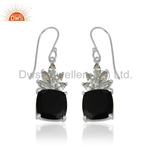 Exporter Fine Sterling Silver Cz and Onyx Gemstone Drop Earrings Supplier from India