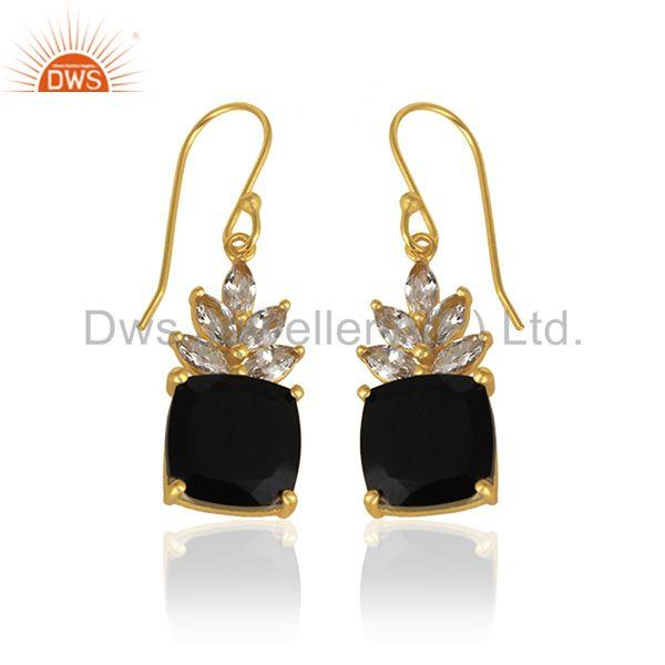 Exporter Cz and Black Onyx Gemstone 925 Silver Gold Plated Custom Earring Manufacturer
