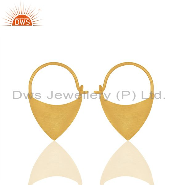 Exporter Solid Plain 925 Sterling Silver Gold Plated Handmade Earring Wholesale