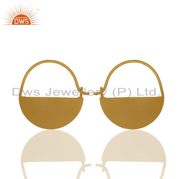 Exporter Round 925 Plain Silver Handmade Gold Plated Simple Earrings Suppliers