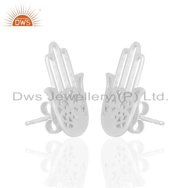 Exporter White Rhodium Plated Hamsa Hand Charm Silver Stud Earrings Wholesale