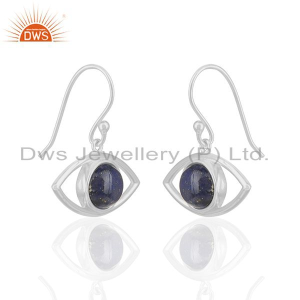 Exporter Solid Silver Evil Eye Design Natural Lapis Lazuli Gemstone Earrings