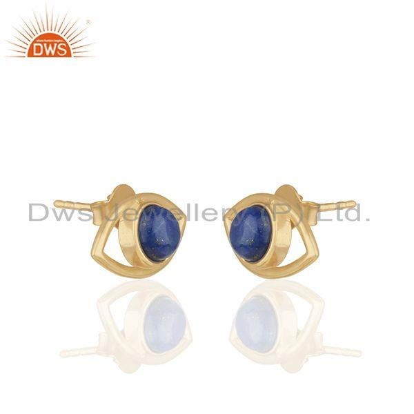 Exporter 925 Silver Gold Plated Lapis Lazuli Gemstone Eye Design Stud Earrings