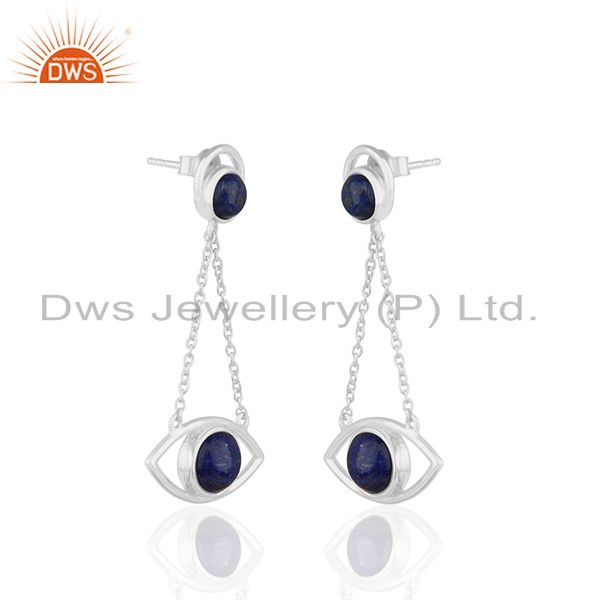 Exporter Handmade 925 Silver Lapis Lazuli Gemstone Chain Earrings Manufacturer