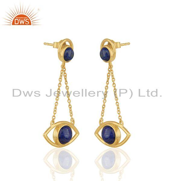 Exporter Gold Plated 925 Silver Gold Plated Chain Lapis Gemstone Earring