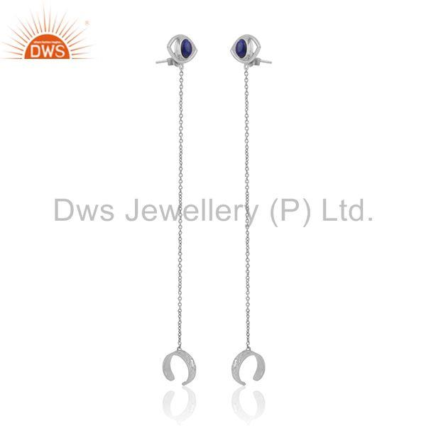 Exporter Fine Sterling Silver Evil Eye Design Gemstone Ear Cuff Earring Wholesale