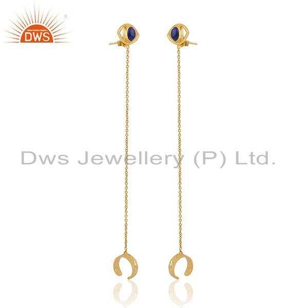 Exporter Evil Eye Design 925 Silver Gold Plated Chain Ear Cuff Earrings Manufacturers