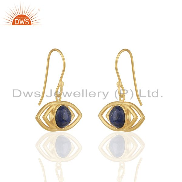 Exporter 2017 New Designer 18k Gold Plated Evil Eye Design Silver Earring