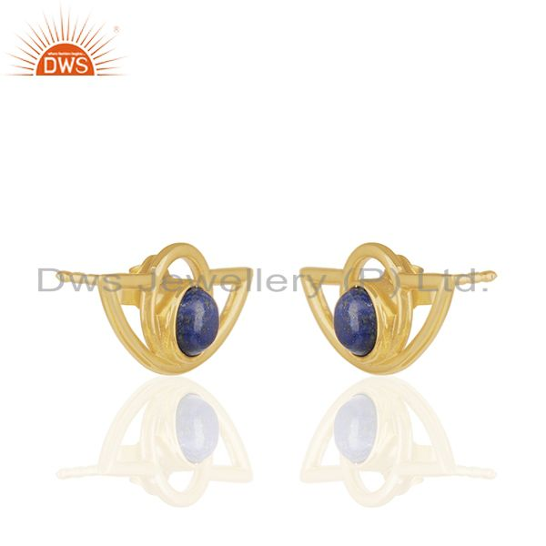 Exporter Designer 925 Silver Gold Plated Lapis Lazuli Gemtone Stud Earrings