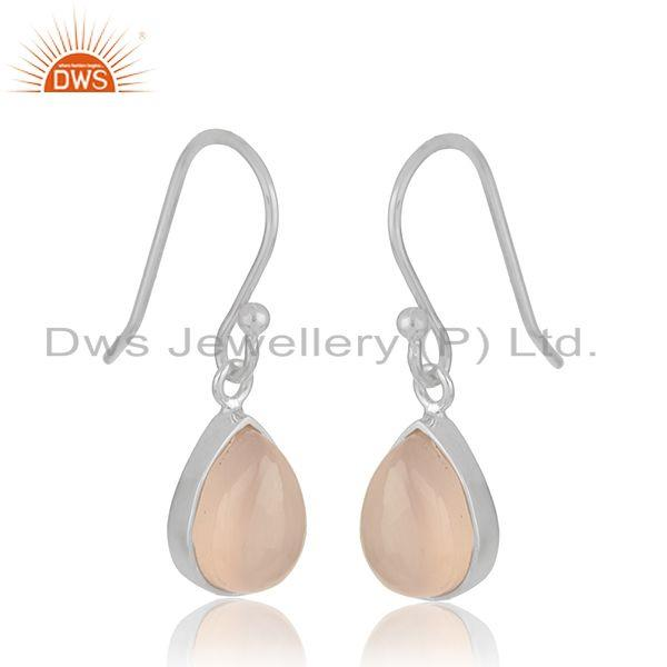 Exporter White 925 Sterling Silver Rose Chalcedony Gemstone Simple Drop Earrings Supplier